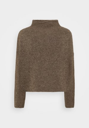 MIKA FUNNEL NECK - Strikkegenser - dark taupe mel