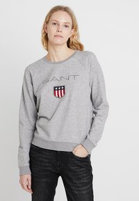 GANT - SHIELD LOGO C NECK - Sweatshirt - grey melange - 0