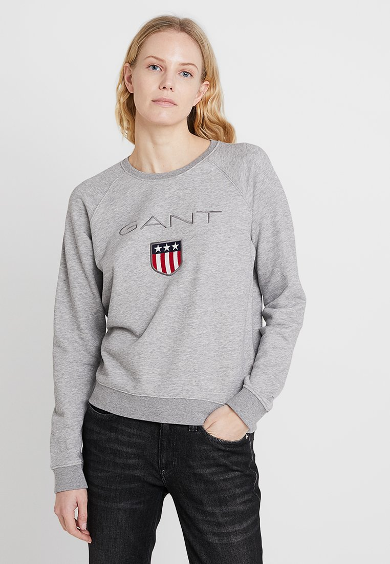 GANT - SHIELD LOGO C NECK - Sweatshirt - grey melange