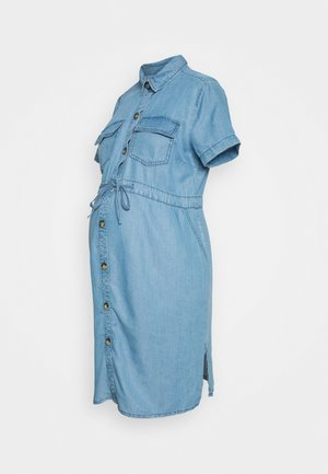 DRAWSTRING DRESS - Vestido vaquero - light blue