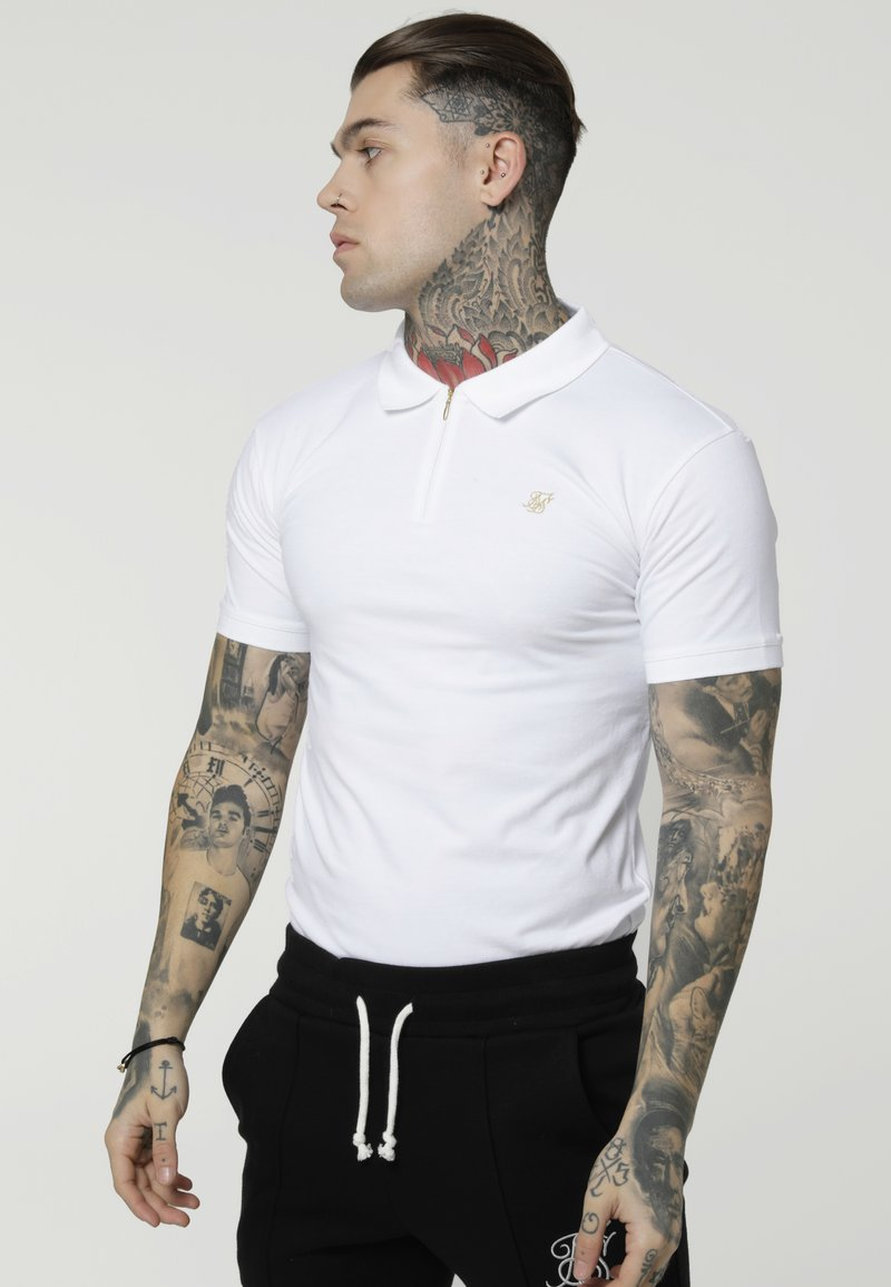 SIKSILK - STRETCH FIT ZIP COLLAR - Polo - white