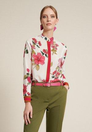 Button-down blouse - var panna/fucsia