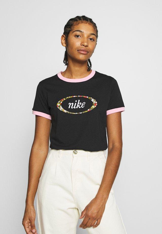 Print T-shirt - black/pink
