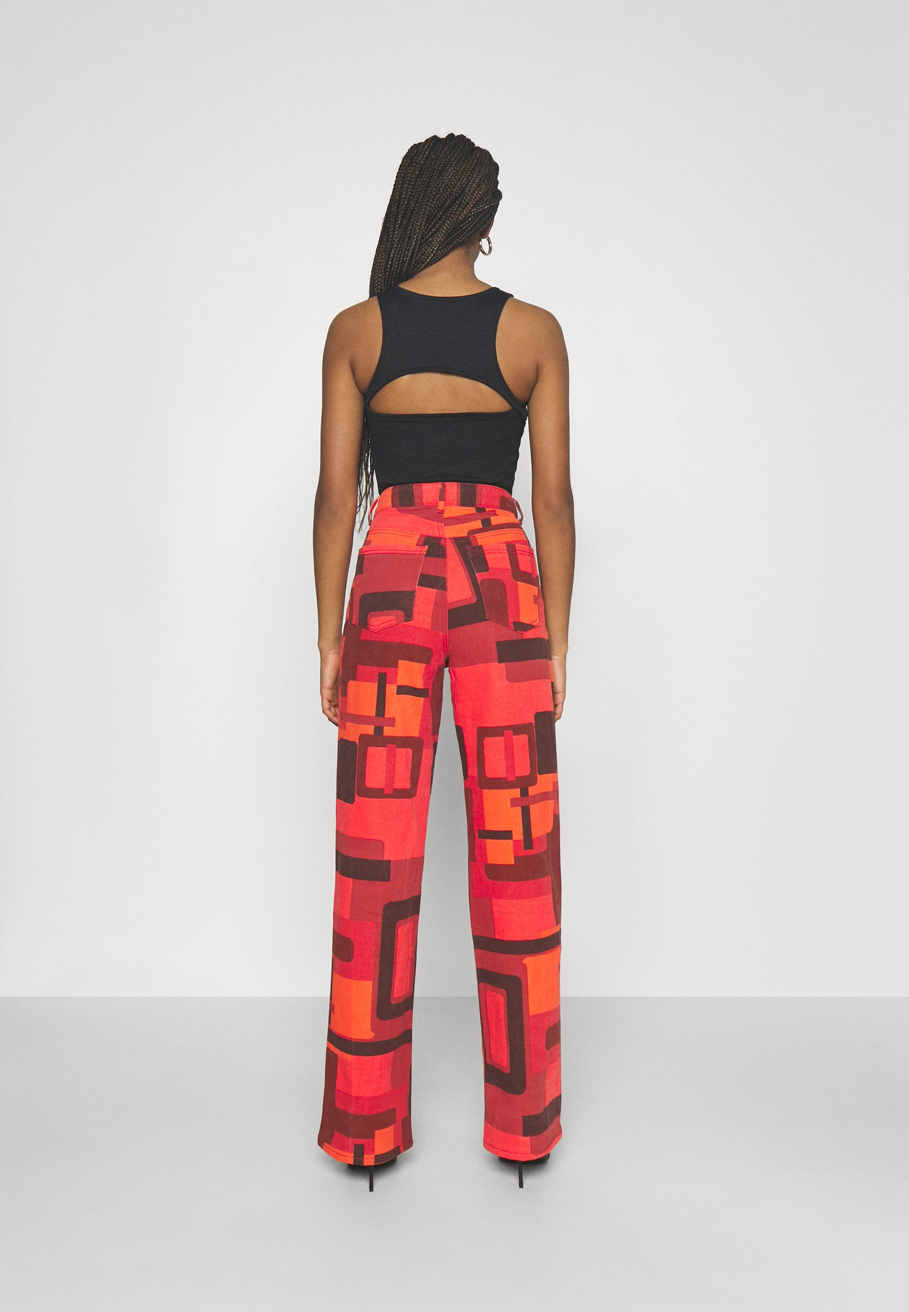 Femme PRINTED SLOUCHY FIT SMOKE PRINT - Jean flare