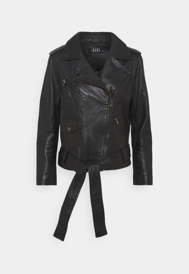 BRUSTINE - Leather jacket - black/black
