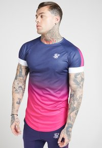 SIKSILK - T-shirt print - navy   neon fade - 0