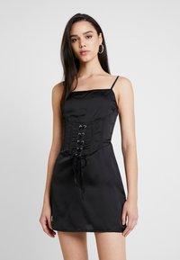 Missguided - CAMI CORSET WAIST DRESS - Day dress - black - 0