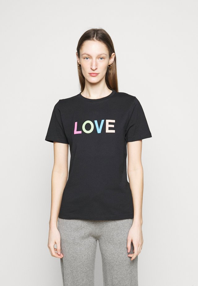 LOVE  - T-shirt med print - black/multi-coloured