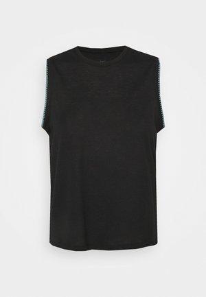 CROCHET TANK - Sports shirt - black/cerulean