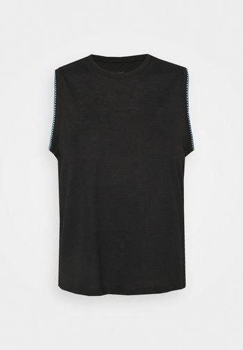 CROCHET TANK - Camiseta de deporte - black/cerulean