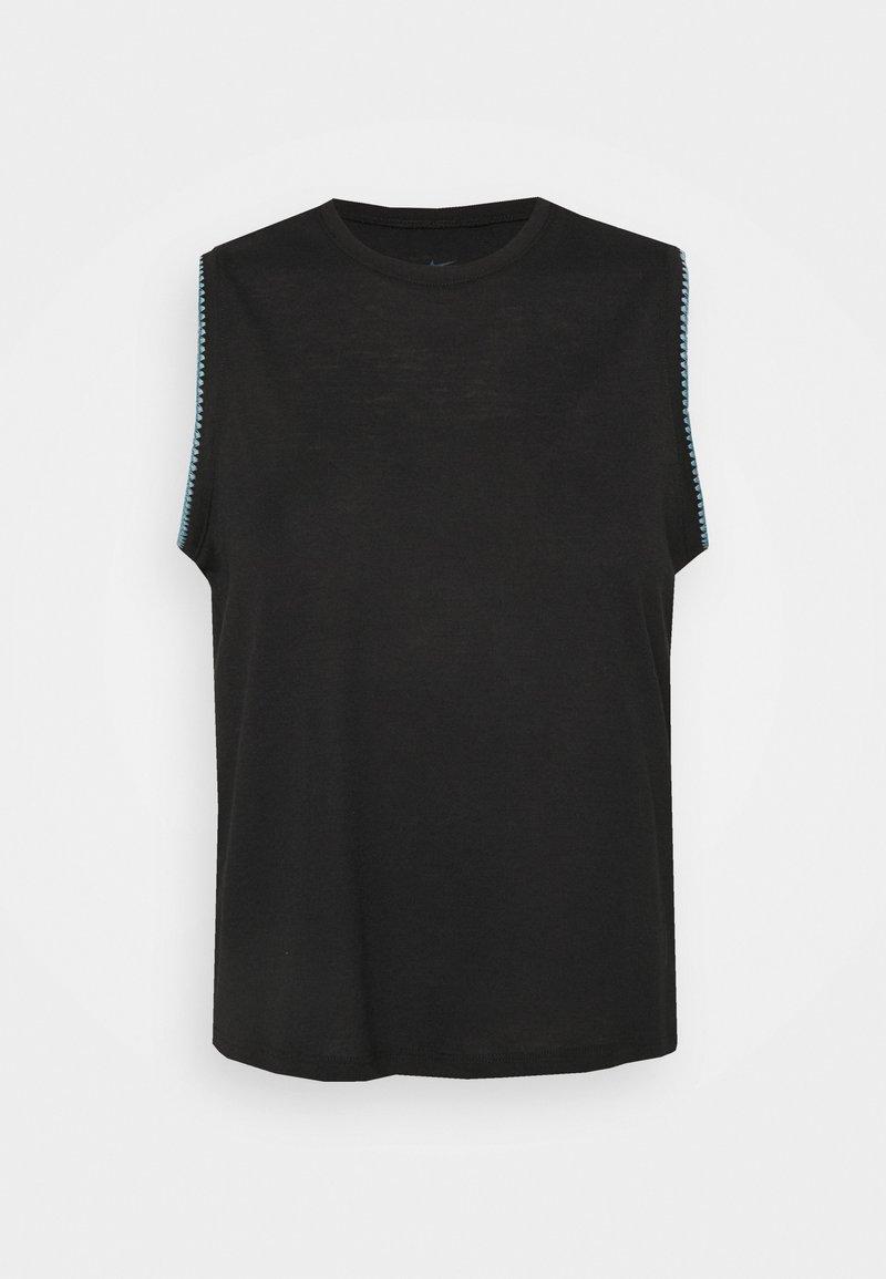 Nike Performance - CROCHET TANK - T-shirt sportiva - black/cerulean