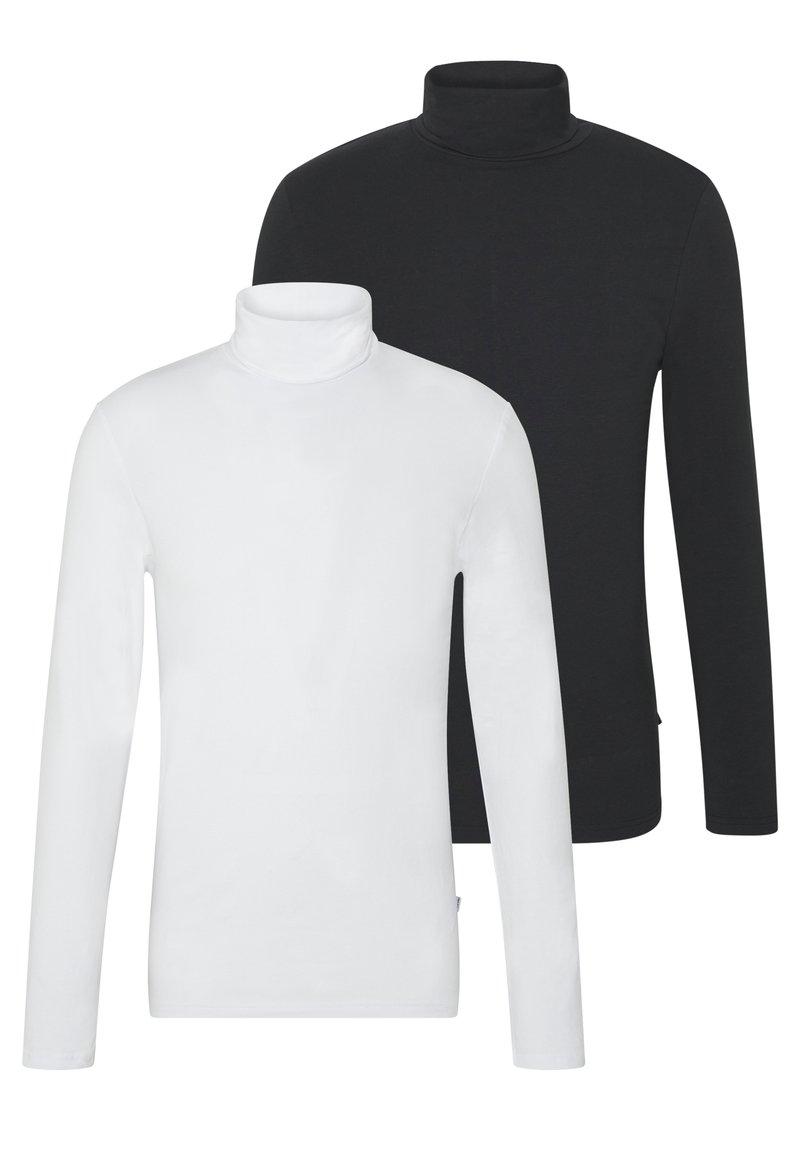 Pier One - 2 PACK - Top sdlouhým rukávem - white/black