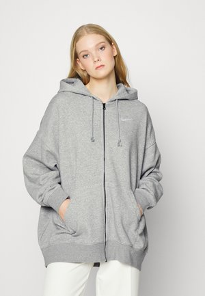 Sweat à capuche zippé - grey heather/matte silver/white
