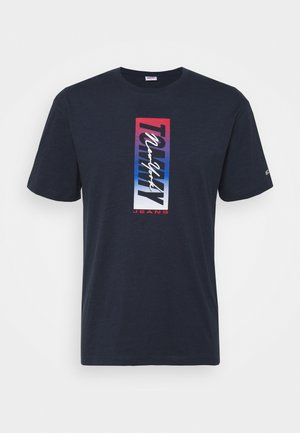 VERTICAL FRONT LOGO BOX TEE - T-Shirt print - blue
