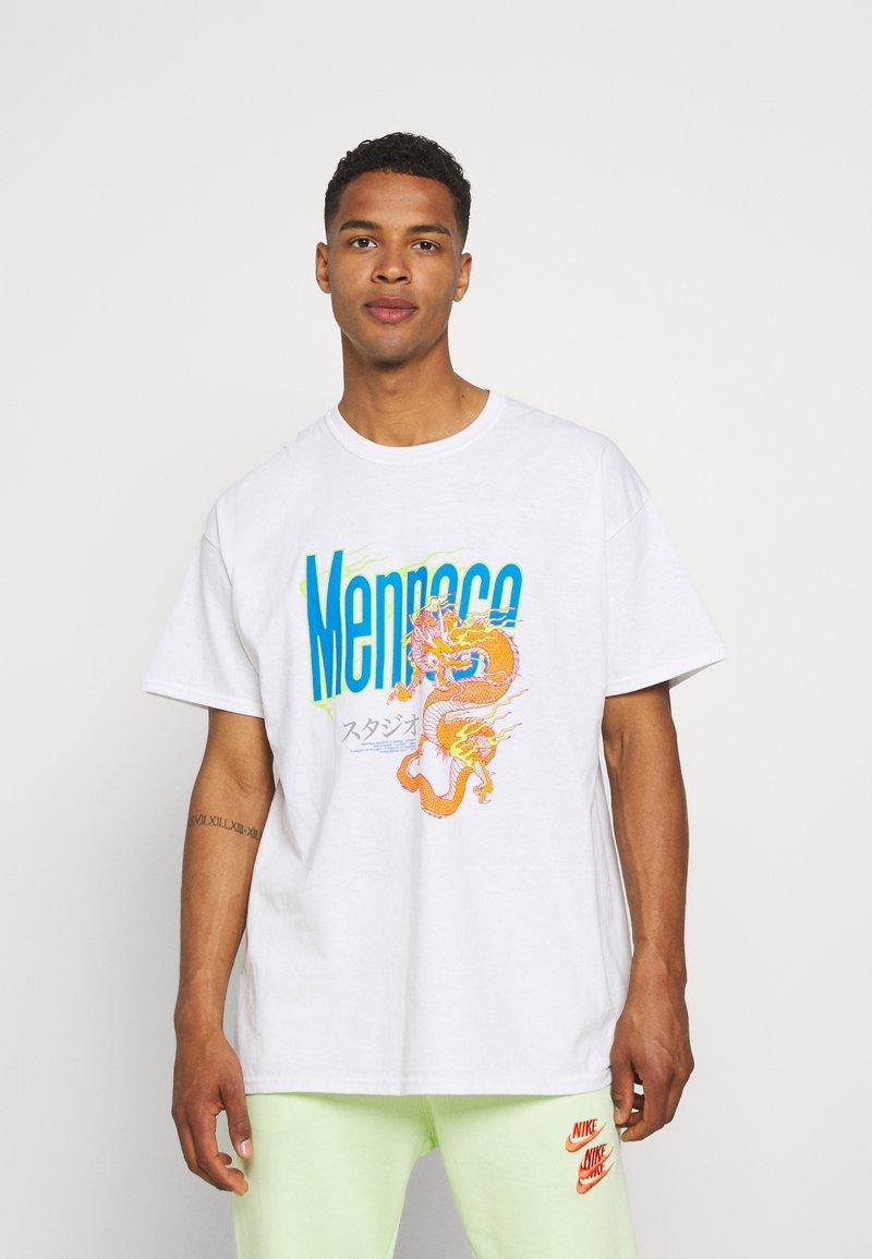Mennace - HAVANA FLAMING DRAGON - Print T-shirt - off white