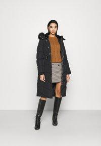 River Island - BELTED PUFFER - Winter coat - black - 1