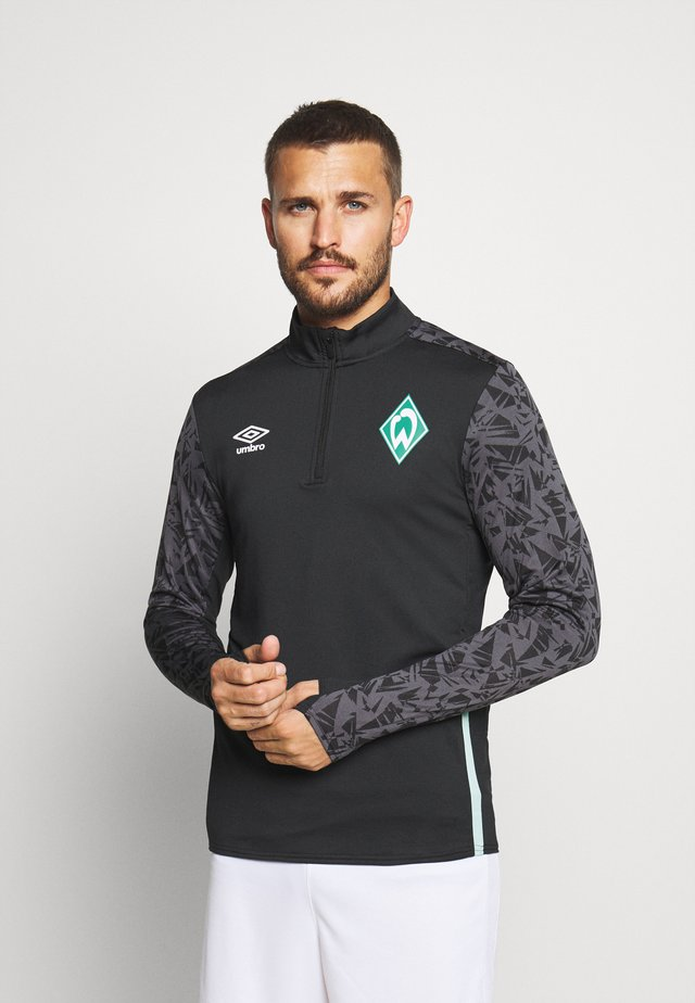 WERDER BREMEN HALF ZIP - Club wear - black/carbon/ice green