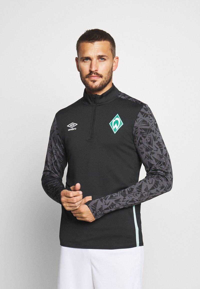 Umbro - WERDER BREMEN HALF ZIP - Funkční triko - black/carbon/ice green