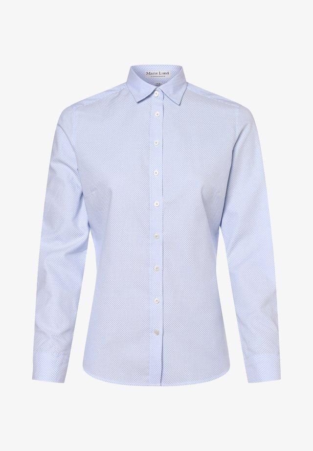 Button-down blouse - weiß hellblau