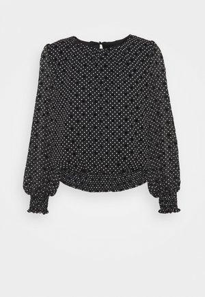 SHIRRED HEM FLORAL - Long sleeved top - black