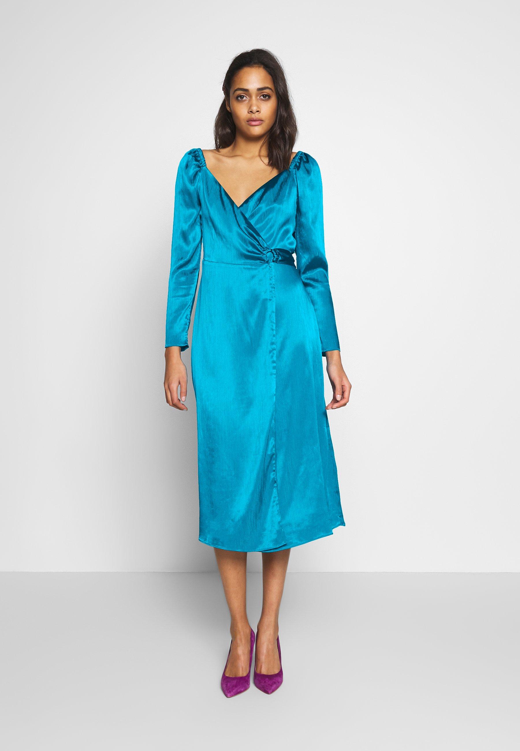 The East Order Lucette Midi Dress Freizeitkleid Turquoise Turkis Zalando De
