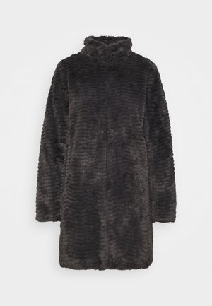 FUNNEL COLLAR TEXTURED LONGLINE  - Winter coat - slate
