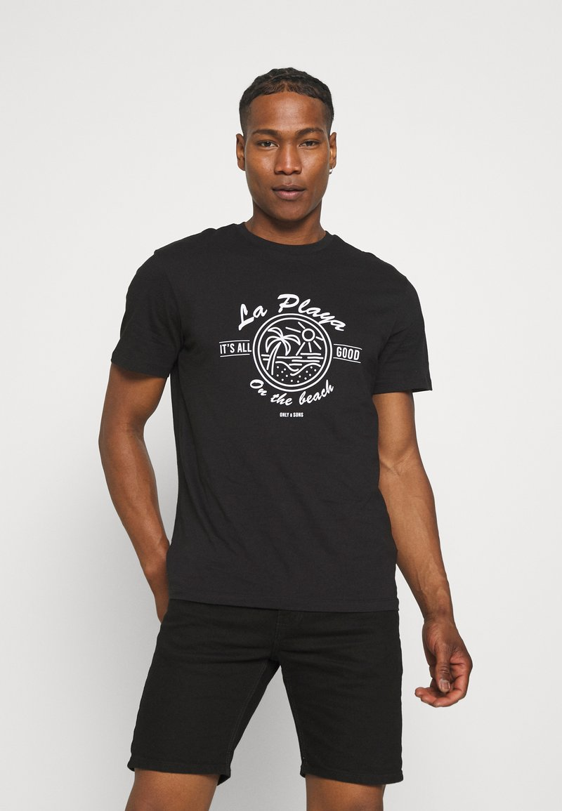 Only & Sons - ONSPINE LIFE TEE - Printtipaita - black