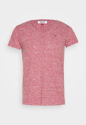 BASIC VNECK TEE SLIM FIT - T-shirt print - wine red