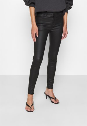 JDYNEWTHUNDER COATED HIGH - Broek - black
