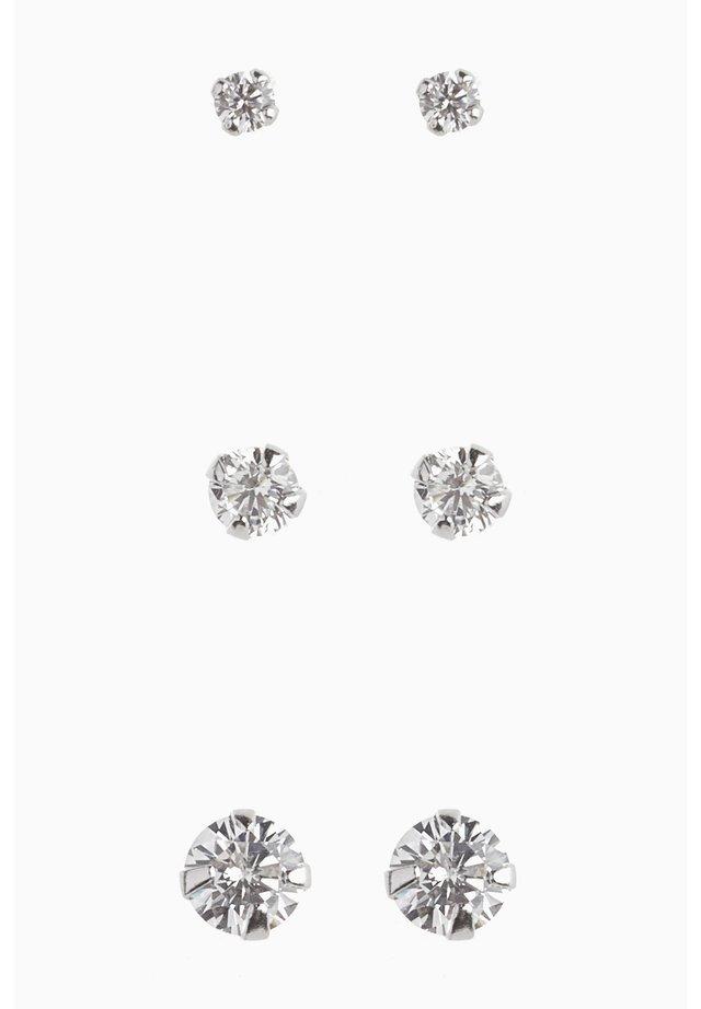 STERLING SILVER CRYSTAL STUDS THREE PACK - Earrings - silver