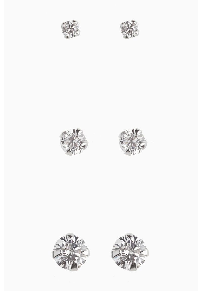 Next - STERLING SILVER CRYSTAL STUDS THREE PACK - Earrings - silver