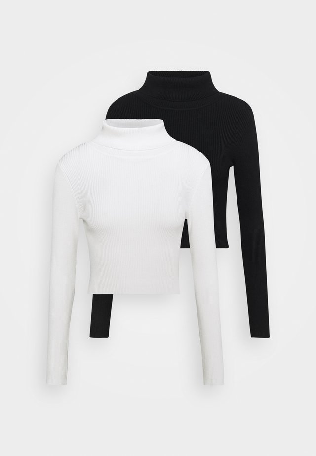 2-PACK-CROPPED TURTLE NECK - Jumper - black/ white