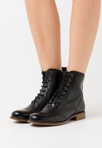 Anna Field - LEATHER - Lace-up ankle boots - black - 0