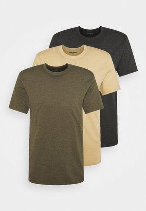 3 PACK - T-shirt - bas - olive/mottled dark grey/sand