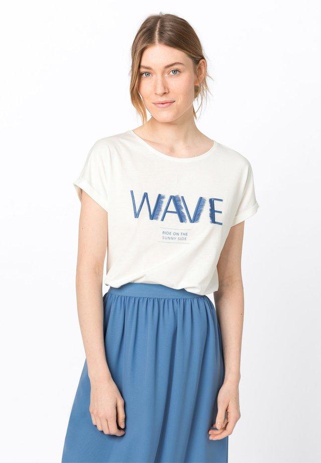 MIT FRANSENSTICKEREI - T-shirt imprimé - offwhite
