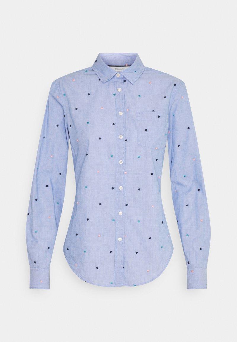 Springfield - CAMISA FILAFIL BORDAD - Button-down blouse - light blue