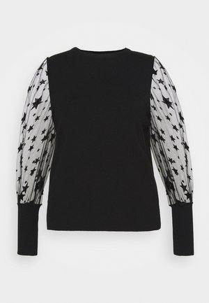 PLEAT SLEEVE JUMPER WITH STARS - Svetr - black