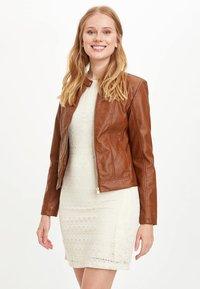 DeFacto - Faux leather jacket - brown - 4