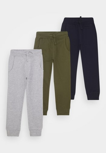 BASIC BOYS 3 PACK - Tracksuit bottoms - light grey/khaki/dark blue