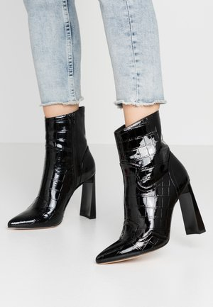 FEATURE SHINY WESTERN BOOT - High heeled ankle boots - black
