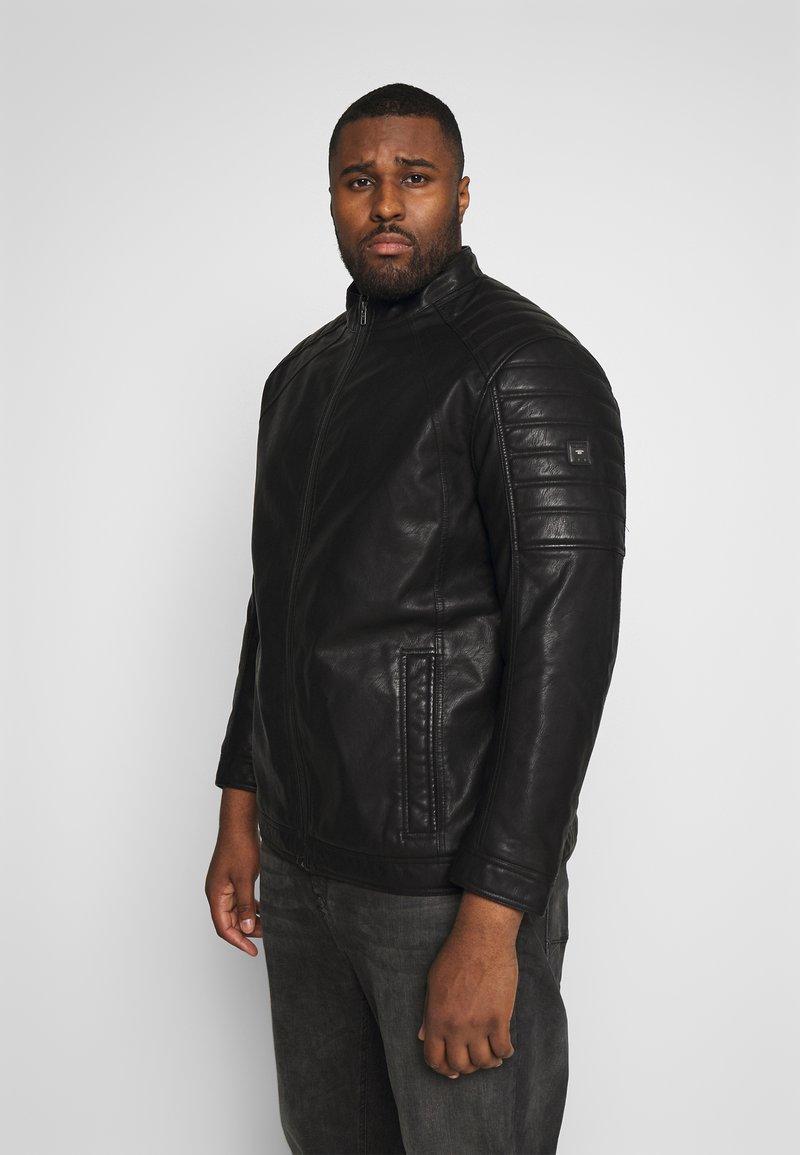 TOM TAILOR MEN PLUS - BIKER JACKET - Faux leather jacket - black