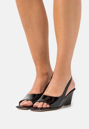 LAURA SLINGBACK WEDGE - Wedge sandals - black