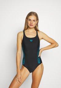 Arena - STAMP SWIM PRO BACK ONE PIECE - Swimsuit - black/turquoise - 0