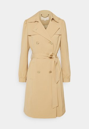 DOUBLE BREASTED PUFF SLEEVE DRAPERY - Trenchcoat - khaki