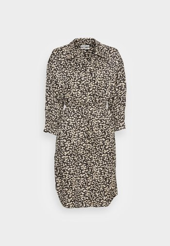 DRESS SHIRT STYLE RELAXED PYJAMA COLLAR BELT DETAIL WIDE CUF - Day dress - multi