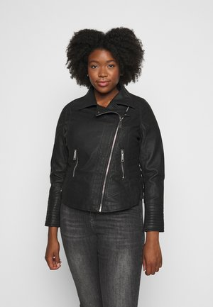 FIGURE SHAPING BIKER JACKET - Imiteret læderjakke - black