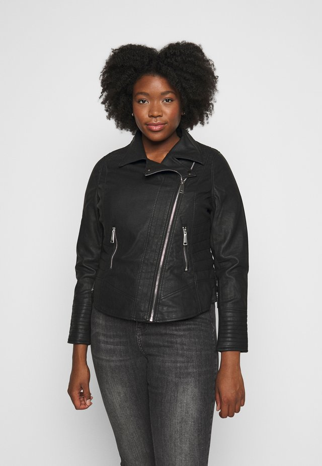 FIGURE SHAPING BIKER JACKET - Faux leather jacket - black