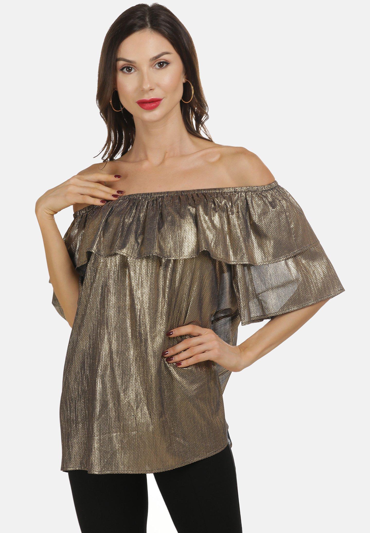 Recommend Women's Clothing faina CARMEN Blouse schwarz gold Fe0dD1u6A
