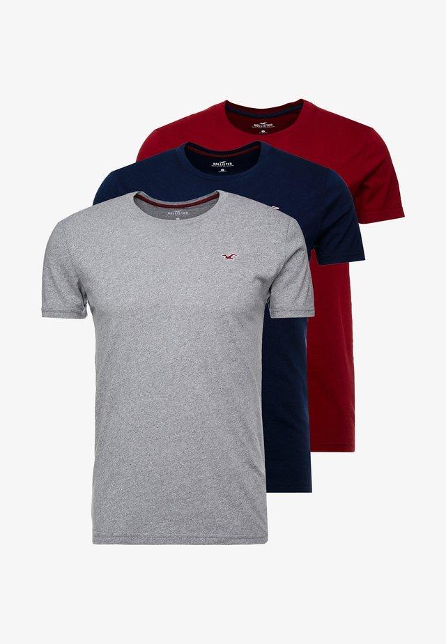 CREW 3 PACK - T-shirt basic - navy/burgundy/grey