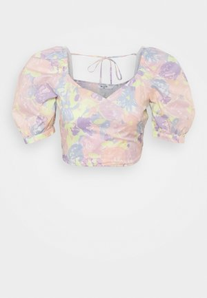 PUFF SLEEVE WRAP BLOUSE - Blouse - multicolor